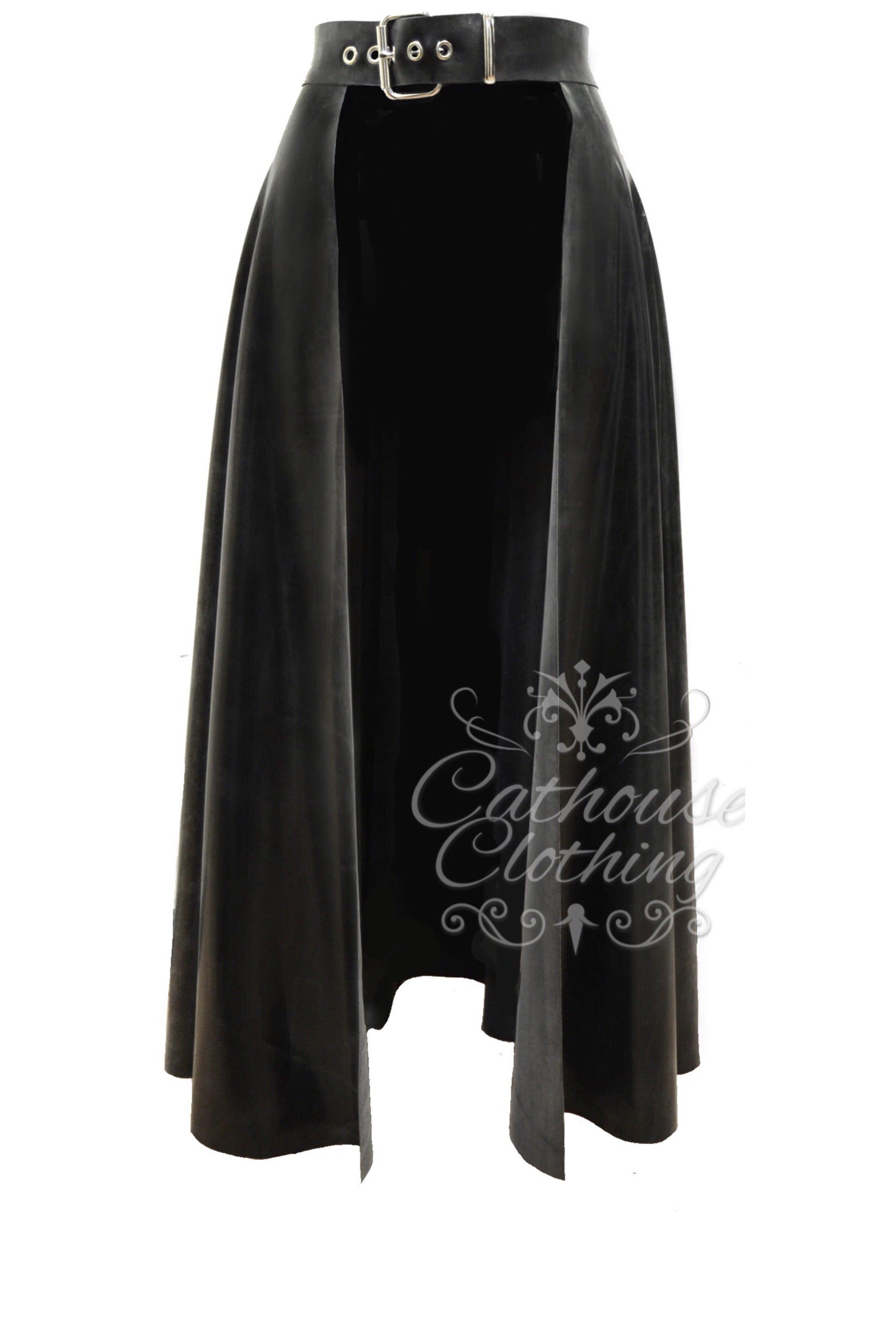 Latex maxi cover-up skirt