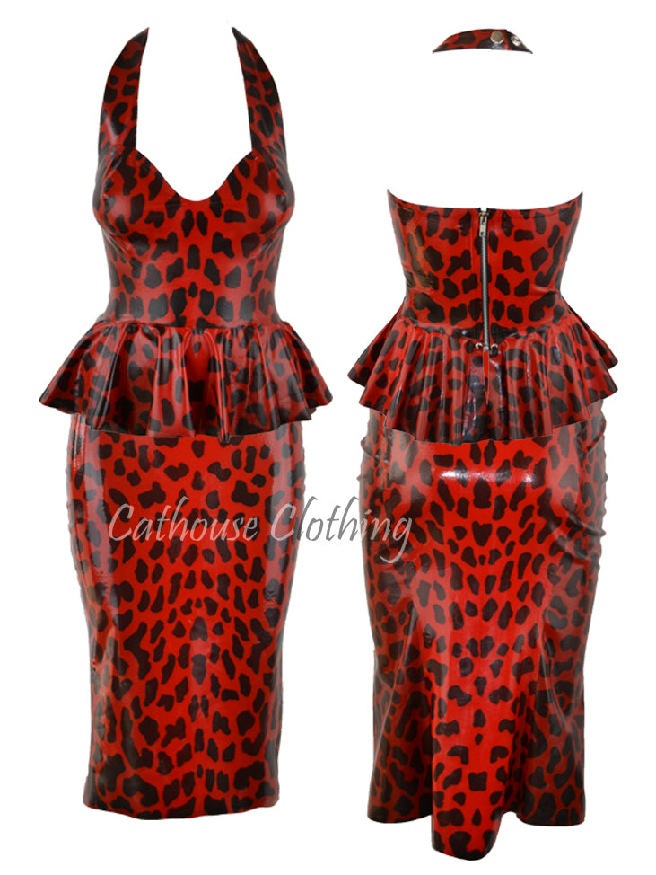 Cheetah latex peplum top
