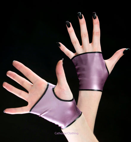 Latex fingerless gloves