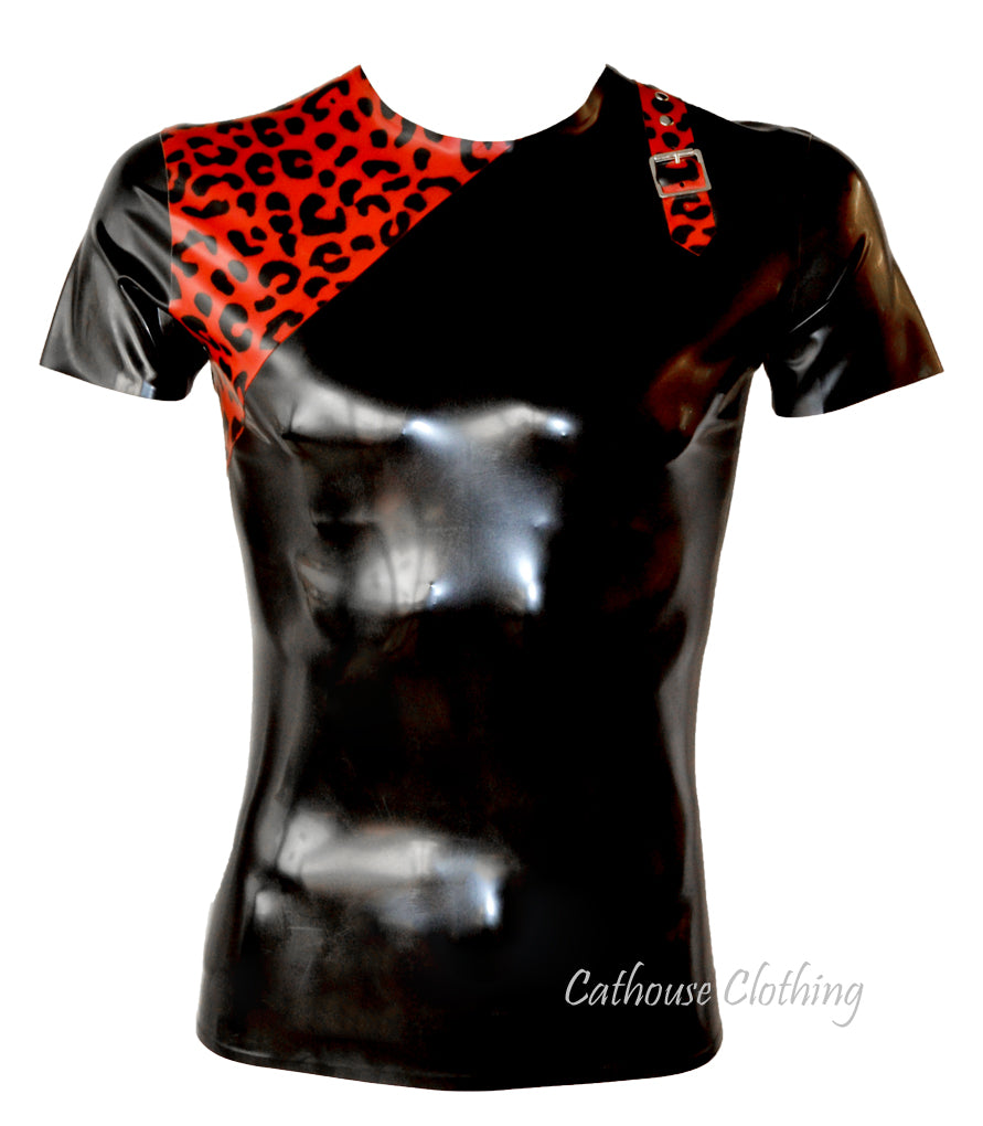 Men's Leopard Latex Buckle T-shirt