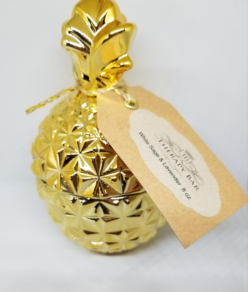 Pineapple Candle Jar: White Sage & Lavender 8 oz