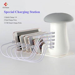 Multi 5 Port Quick Charging Dock Station with Lamp
