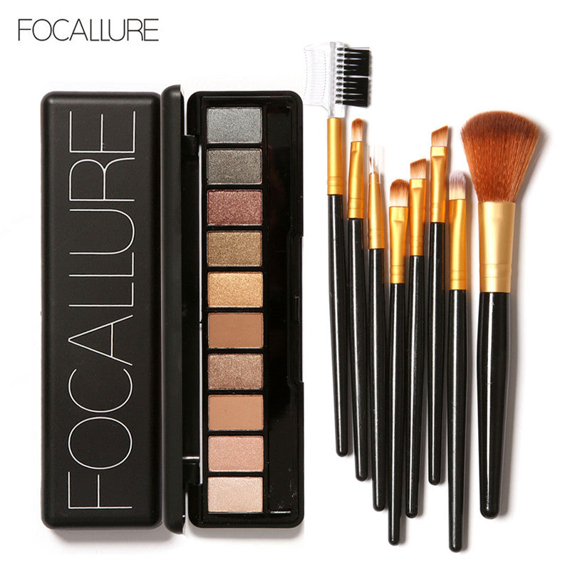 FOCALLURE Kit complet Set Palette fard à paupière + Pinceaux 10 Colors!