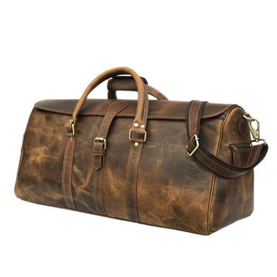 Camelide Hunter Brown Leather Weekender Bag