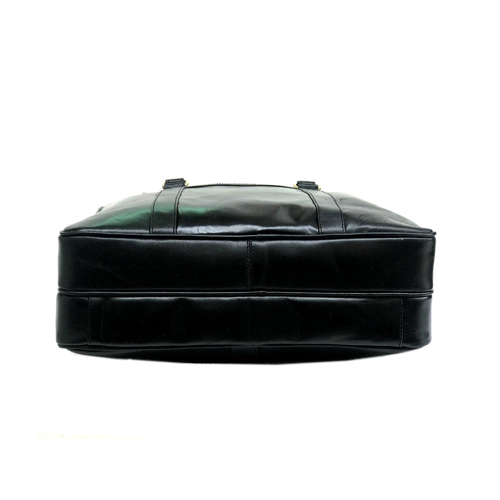 Men Glossy Black Genuine Leather Laptop Bag