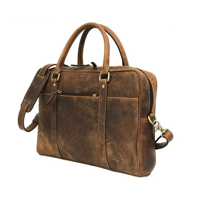 Men Brown Genuine Vintage Leather Laptop Bag