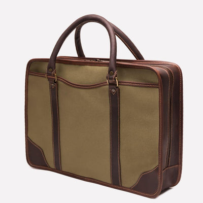 Women's Canvas Briefcase, Olive Havana