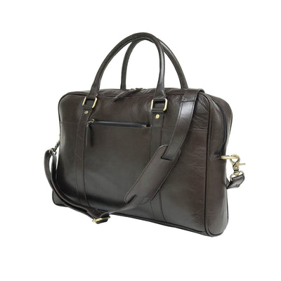 Men Coffee Brown Genuine Vintage Leather Laptop Bag