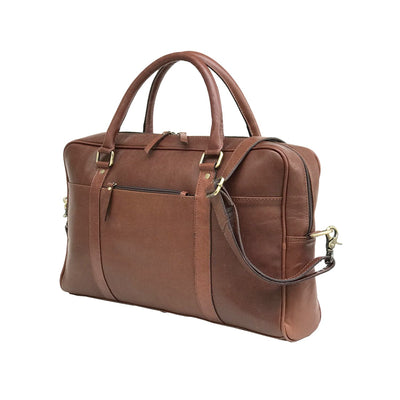 Men Genuine Leather Laptop Bag Dark Brown