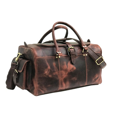 Dark Brown Hunter Leather Weekend Bag