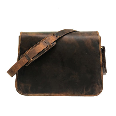 Men Genuine Brown Hard Wax Messenger Bag