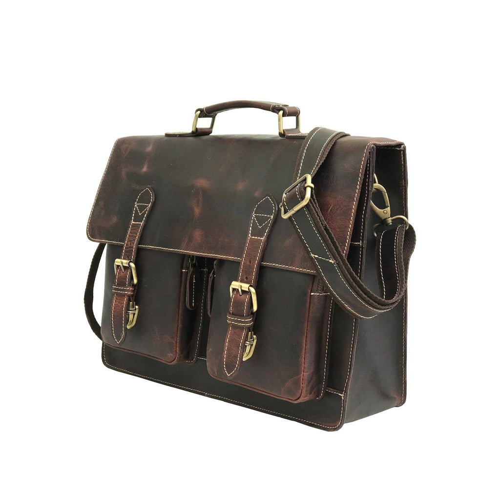 Men Genuine Leather Laptop Portfolio Bag