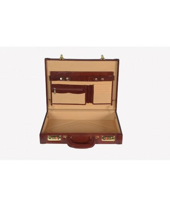 Heritage Ben Nevis Lid Over Attache Case with Multi Pockets, Chestnut