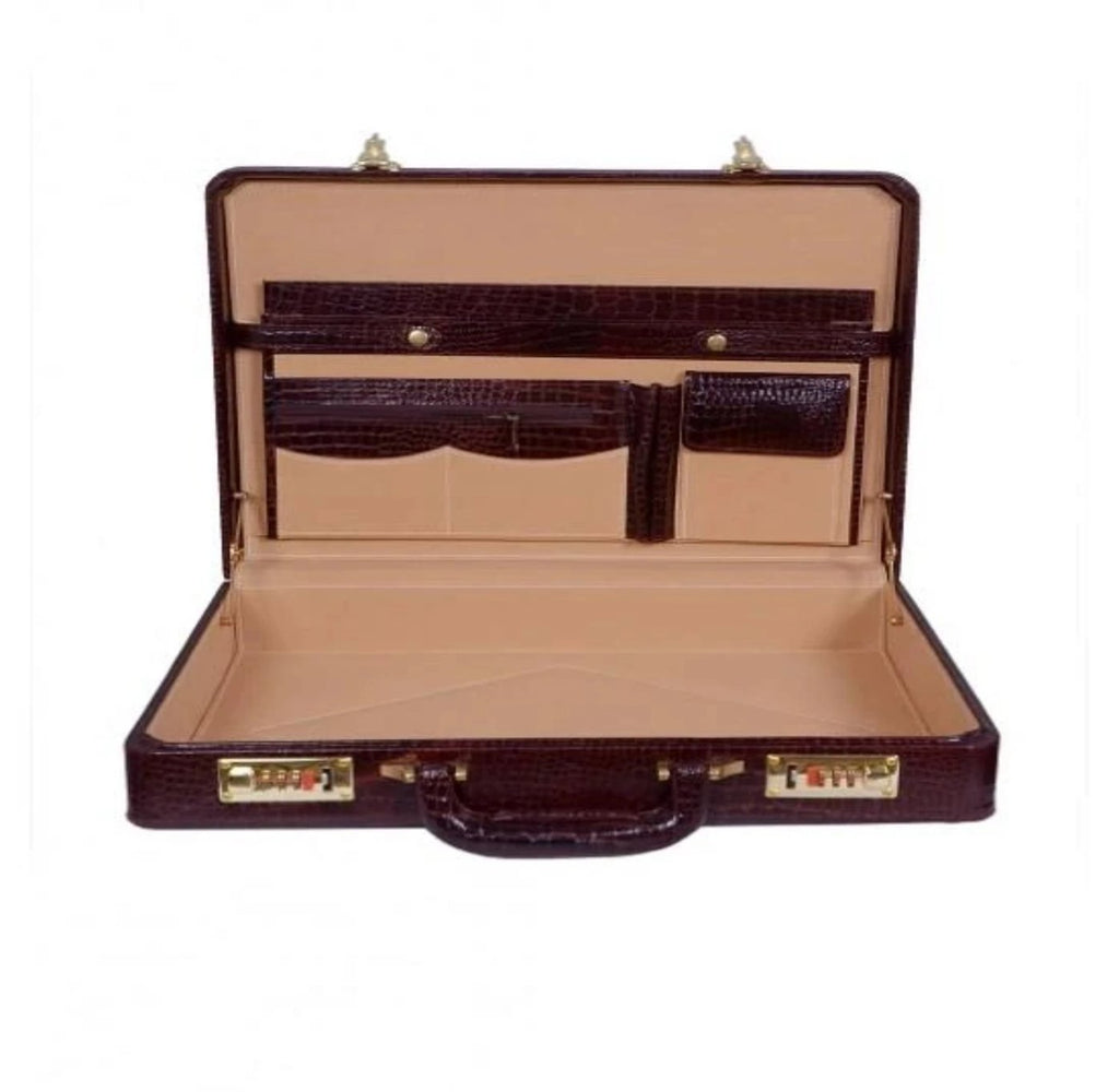 Heritage Ben Nevis Lid Over Attache Case with Multi Pockets, Crocodile Print