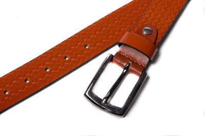 Men's Basketweave Leather Belt Tan