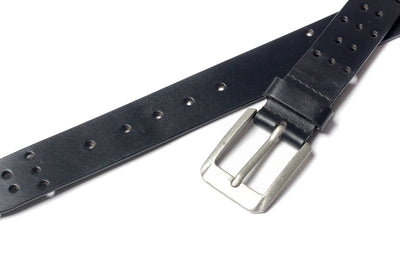 Men's Perforated Leather Belt Black
