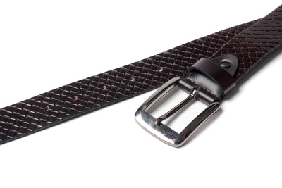 Men's Braid Emboss Leather Belt Brown