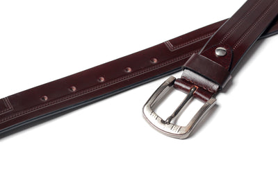 Men's Creased Dress Leather Belt Brown