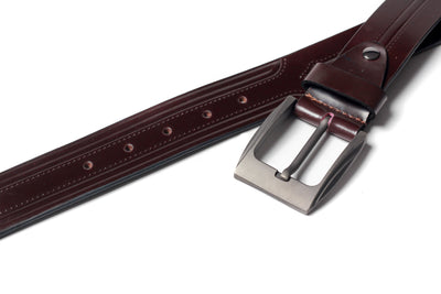 Men's Embossed Leather Belt Brown