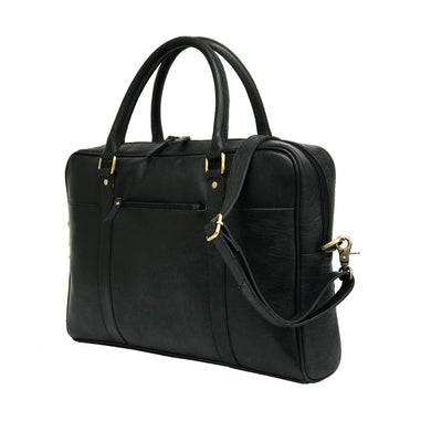 Men Black Genuine Leather Laptop Bag