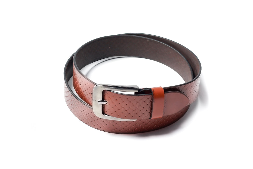 Men's Braid Emboss Leather Belt Tan