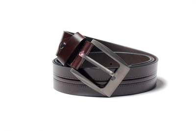 Men's Creased Dress Leather Belt Brown 1