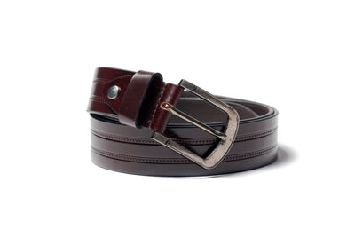 Men's Embossed Leather Belt Brown 1