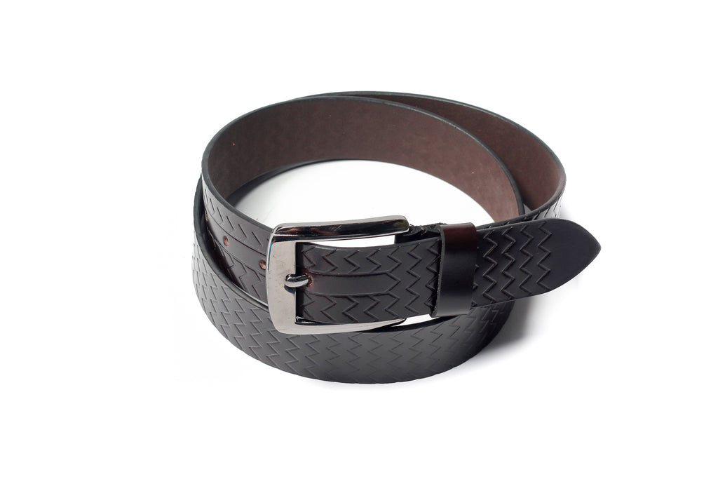 Men's Palladium Lines Leather Belt Brown