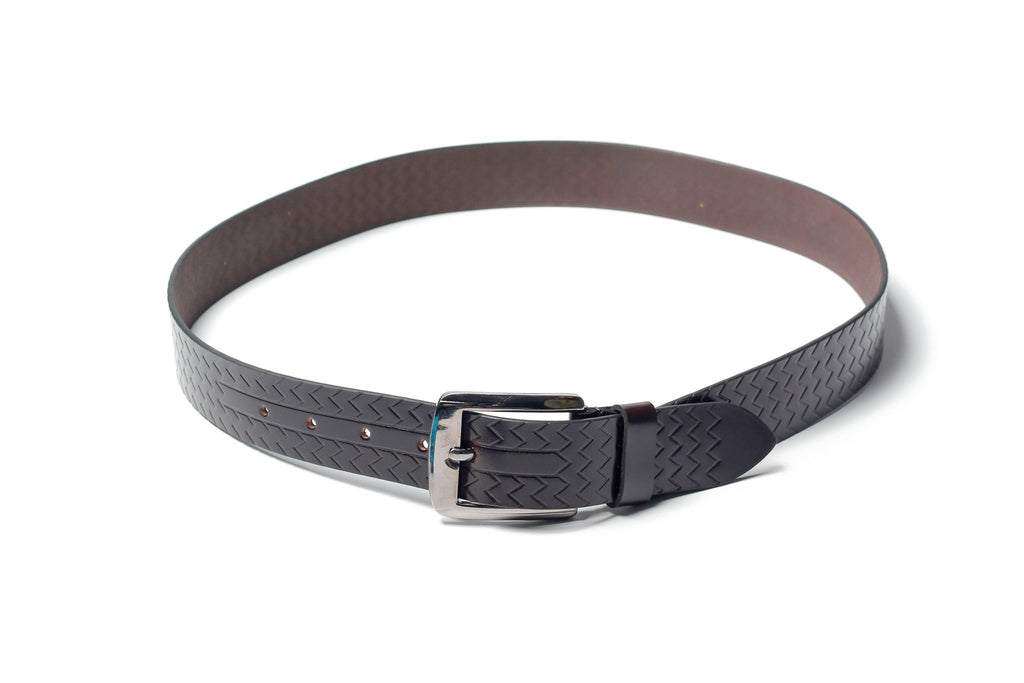 Men's Palladium Lines Leather Belt Brown 3
