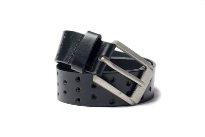 Men's Perforated Leather Belt Black 1