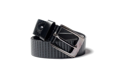 Men's Striped Casual Leather Belt Black 1