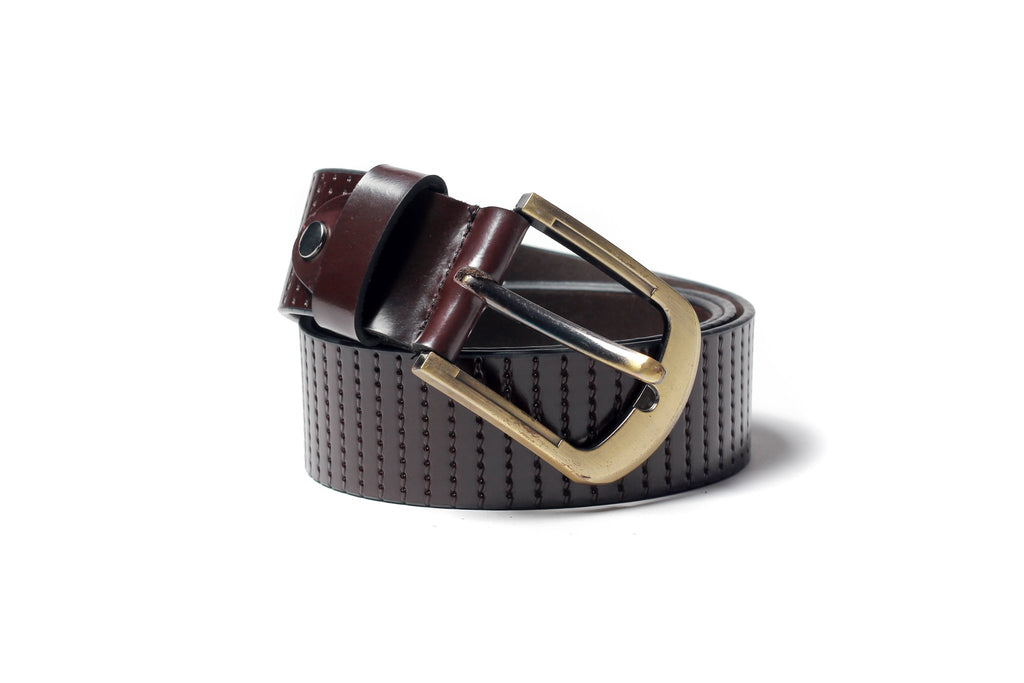 Men's Striped Casual Leather Belt Brown 1