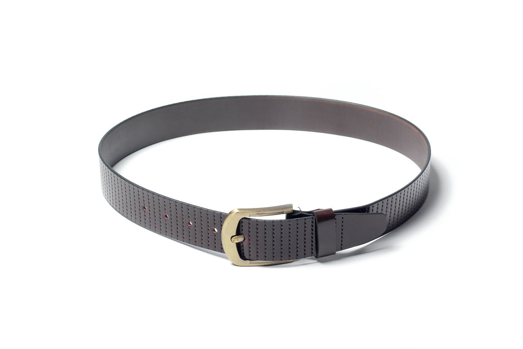 Men's Striped Casual Leather Belt Brown 4