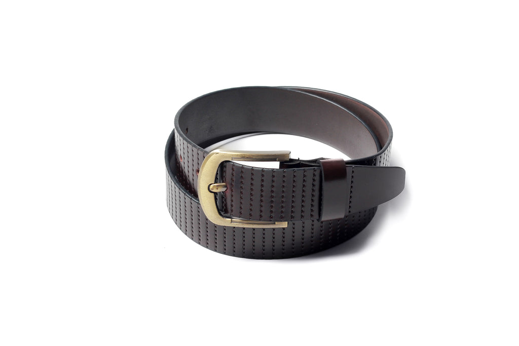 Men's Striped Casual Leather Belt Brown