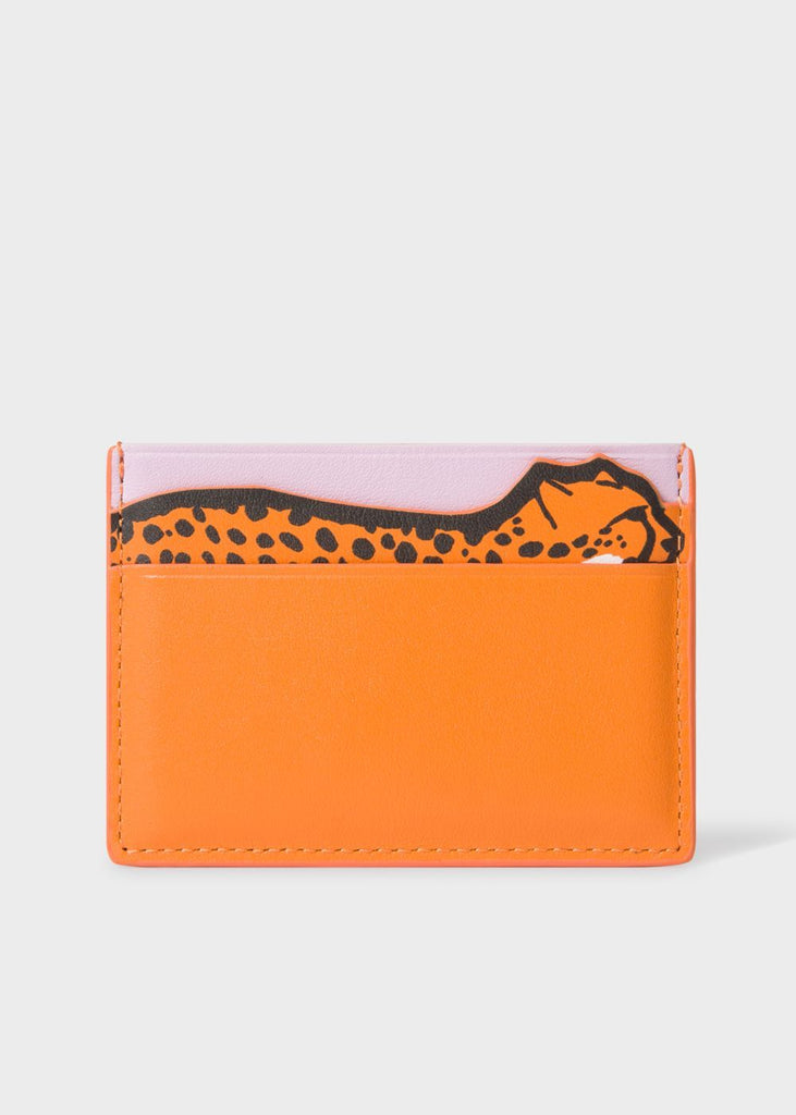Women's Orange Cheetah Motif Leather Credit Card Holder