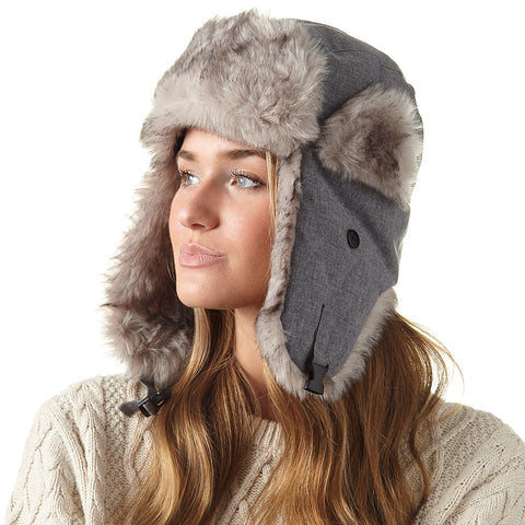 Ladies' Woven Softshell Trapper Hat - Light Grey