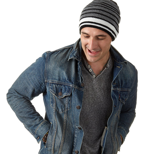 Men's B/W Thin Striped Beanie