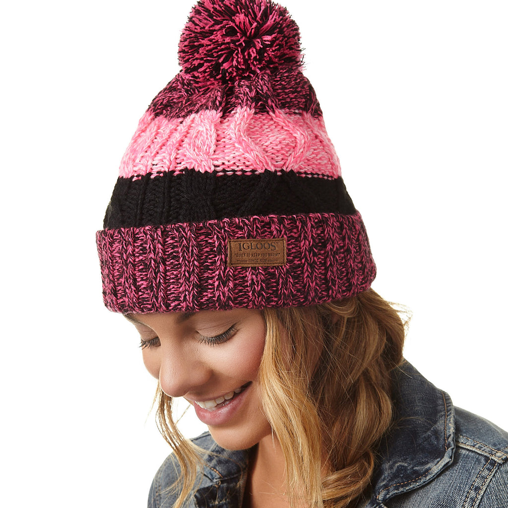 Ladies' Color Block Cuff Cap with Pom