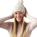 Ladies' Acrylic Moss Stitch Beanie with Pom