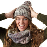 Ladies' Acrylic Space Dye Cuff Cap Slouch with Pom