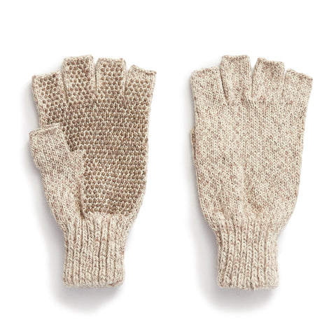 Ragg Wool Fingerless Glove with Dotted Grip Palm