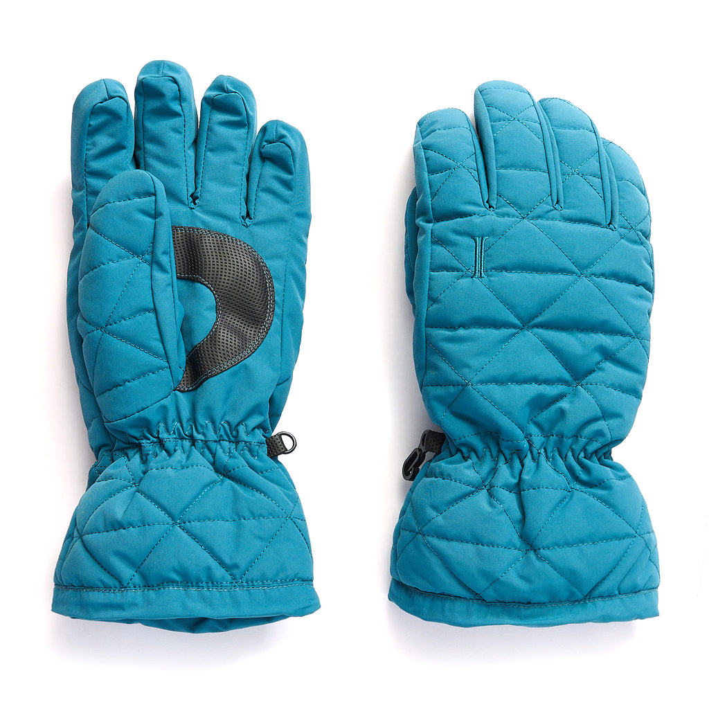 Ladies' Quilted Nylon Ski Glove - Teal