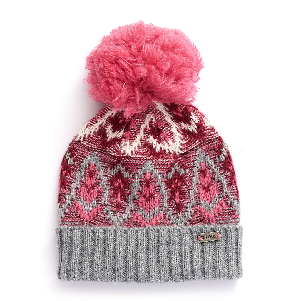 Ladies' Fair Isle Cuff Cap w/ Pom