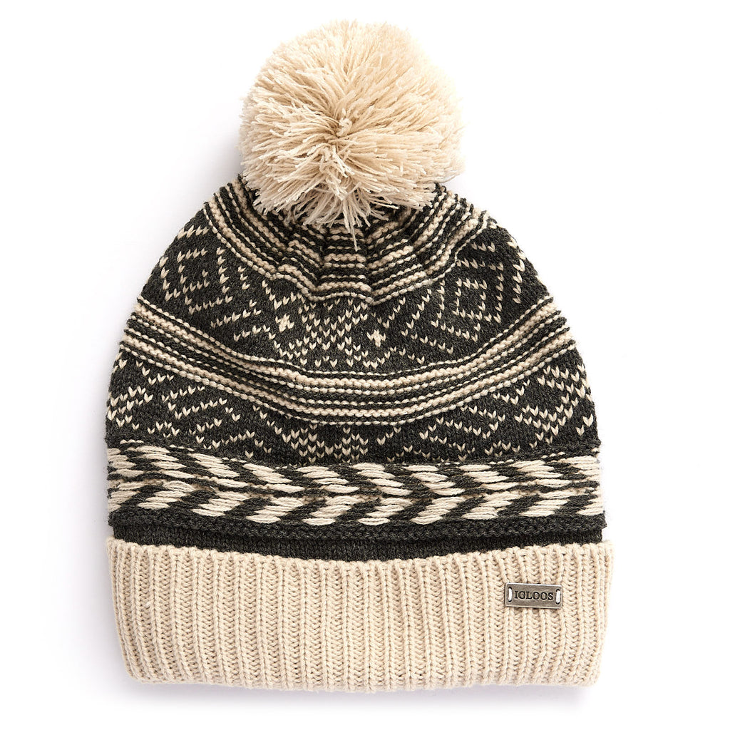 Ladies' Nordic Fair Isle Cuff Cap with Pom