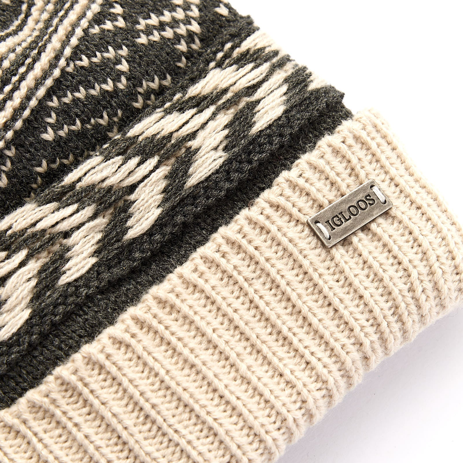 Ladies' Acrylic Fair Isle Cuff Cap with Pom