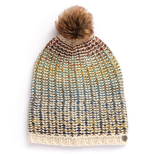 Ladies' Acrylic Space Dye Cuff Beanie with Pom