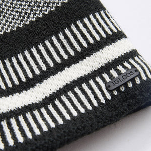 Men's Black and White Striped Beanie