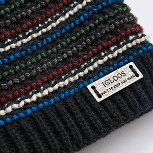 Men's Waffle Stitched Striped Beanie