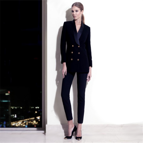 Pants Suits Navy Velve Jacket Slim Blazer Coat Suits