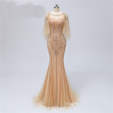 Load image into Gallery viewer, Scoop Collar Gold Heavy Beadings Tulle V Back Fishtail Formal Evening